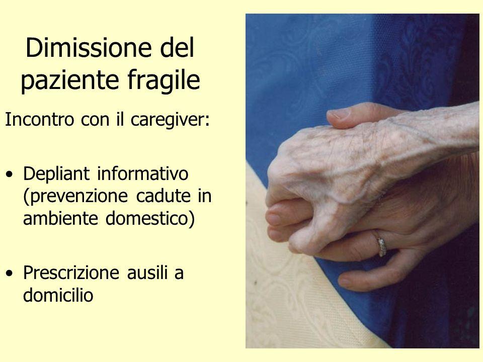 Dimissione del paziente fragile Incontro con il caregiver: Depliant informativo (prevenzione cadute in ambiente domestico) Prescrizione ausili a domic