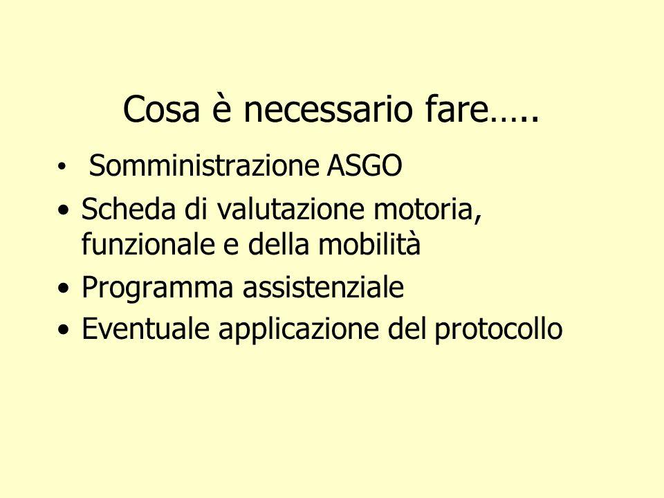 Cosa è necessario fare….. Somministrazione ASGO Scheda di valutazione motoria, funzionale e della mobilità Programma assistenziale Eventuale applicazi