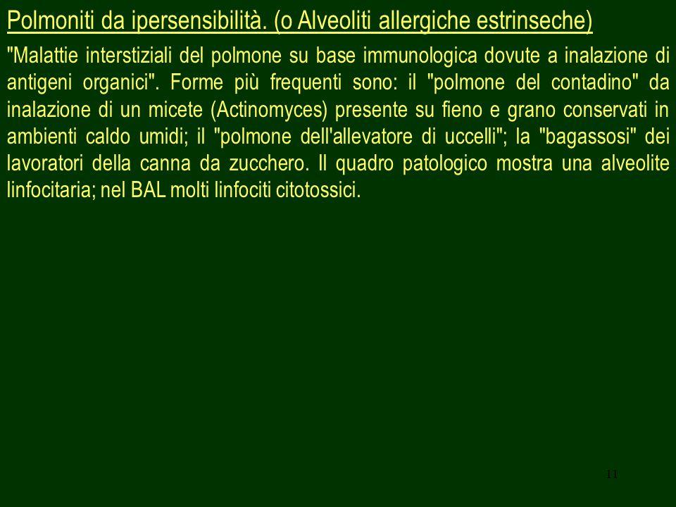 11 Polmoniti da ipersensibilità. (o Alveoliti allergiche estrinseche)