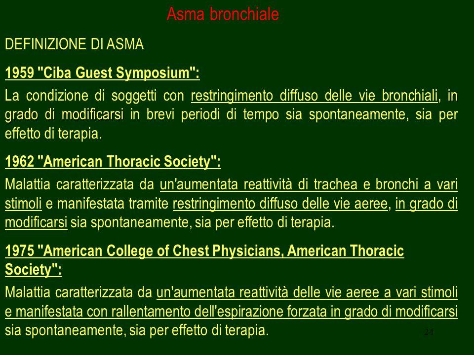 24 Asma bronchiale DEFINIZIONE DI ASMA 1959
