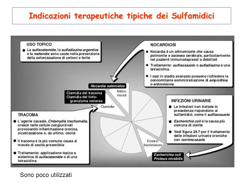 Indicazioni terapeutiche tipiche dei Sulfamidici Sono poco utilizzati