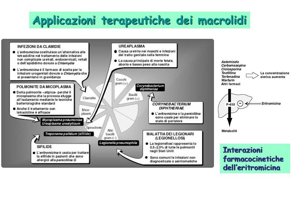Applicazioni terapeutiche dei macrolidi Interazioni farmacocinetiche delleritromicina