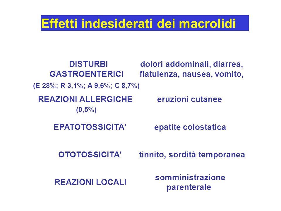 Effetti indesiderati dei macrolidi DISTURBI GASTROENTERICI (E 28%; R 3,1%; A 9,6%; C 8,7%) dolori addominali, diarrea, flatulenza, nausea, vomito, REAZIONI ALLERGICHE (0,5%) eruzioni cutanee EPATOTOSSICITA epatite colostatica OTOTOSSICITA tinnito, sordità temporanea REAZIONI LOCALI somministrazione parenterale