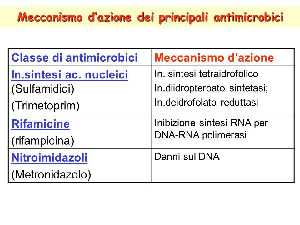 Meccanismo dazione dei principali antimicrobici Classe di antimicrobiciMeccanismo dazione In.sintesi ac.
