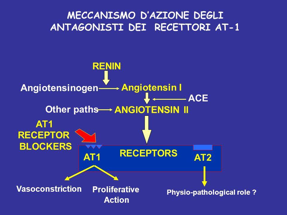RENIN Angiotensinogen Angiotensin I ANGIOTENSIN II ACE Other paths VasoconstrictionProliferative Action AT1 AT2 AT1 RECEPTOR BLOCKERS RECEPTORS Physio