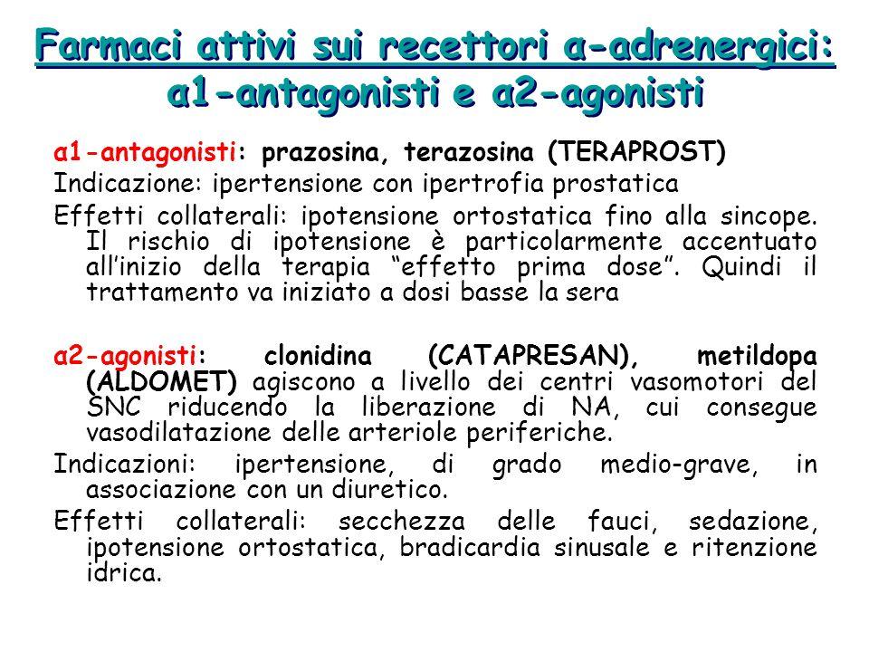 Farmaci attivi sui recettori α-adrenergici: α1-antagonisti e α2-agonisti α1-antagonisti: prazosina, terazosina (TERAPROST) Indicazione: ipertensione c