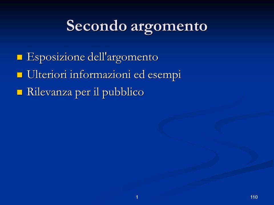 1101 Secondo argomento Esposizione dell argomento Esposizione dell argomento Ulteriori informazioni ed esempi Ulteriori informazioni ed esempi Rilevanza per il pubblico Rilevanza per il pubblico