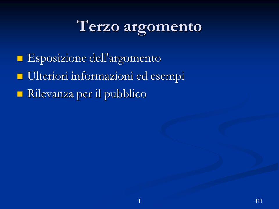 1111 Terzo argomento Esposizione dell argomento Esposizione dell argomento Ulteriori informazioni ed esempi Ulteriori informazioni ed esempi Rilevanza per il pubblico Rilevanza per il pubblico
