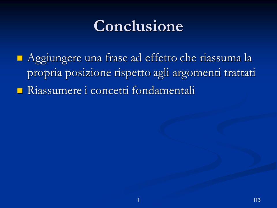 1131 Conclusione Aggiungere una frase ad effetto che riassuma la propria posizione rispetto agli argomenti trattati Aggiungere una frase ad effetto che riassuma la propria posizione rispetto agli argomenti trattati Riassumere i concetti fondamentali Riassumere i concetti fondamentali
