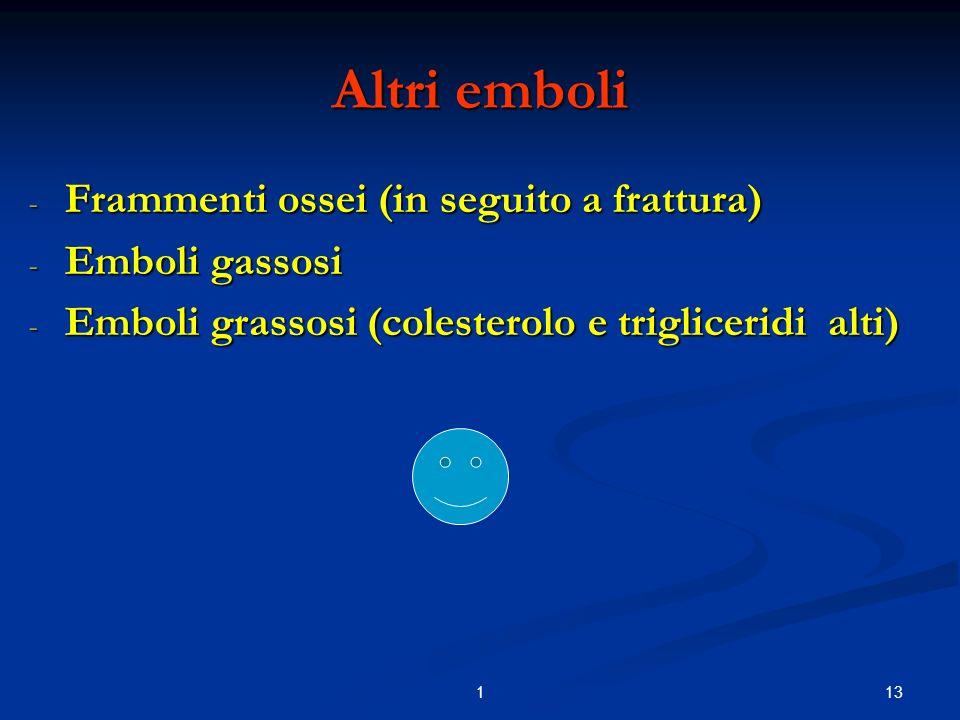 131 Altri emboli - Frammenti ossei (in seguito a frattura) - Emboli gassosi - Emboli grassosi (colesterolo e trigliceridi alti)