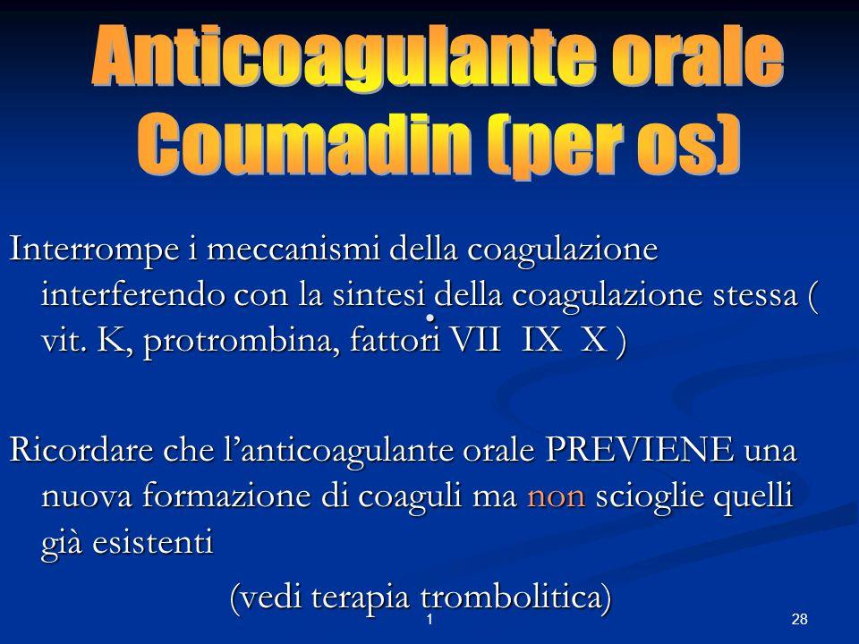 281. Interrompe i meccanismi della coagulazione interferendo con la sintesi della coagulazione stessa ( vit. K, protrombina, fattori VII IX X ) Ricord