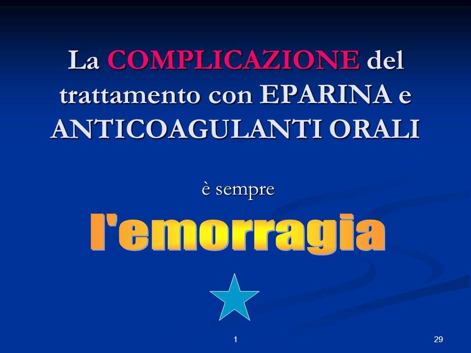 291 La COMPLICAZIONE del trattamento con EPARINA e ANTICOAGULANTI ORALI è sempre è sempre