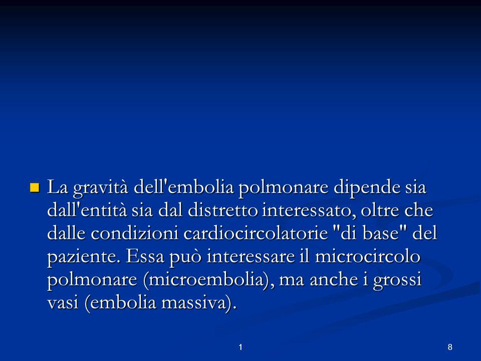 81 La gravità dell'embolia polmonare dipende sia dall'entità sia dal distretto interessato, oltre che dalle condizioni cardiocircolatorie