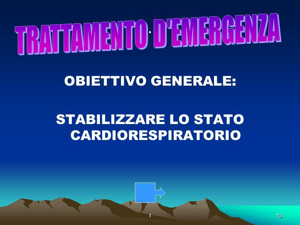 112. OBIETTIVO GENERALE: STABILIZZARE LO STATO CARDIORESPIRATORIO