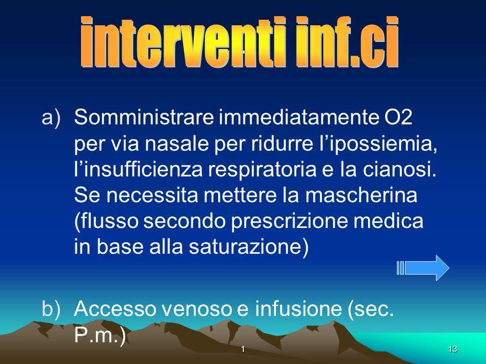 113. a)Somministrare immediatamente O2 per via nasale per ridurre lipossiemia, linsufficienza respiratoria e la cianosi. Se necessita mettere la masch