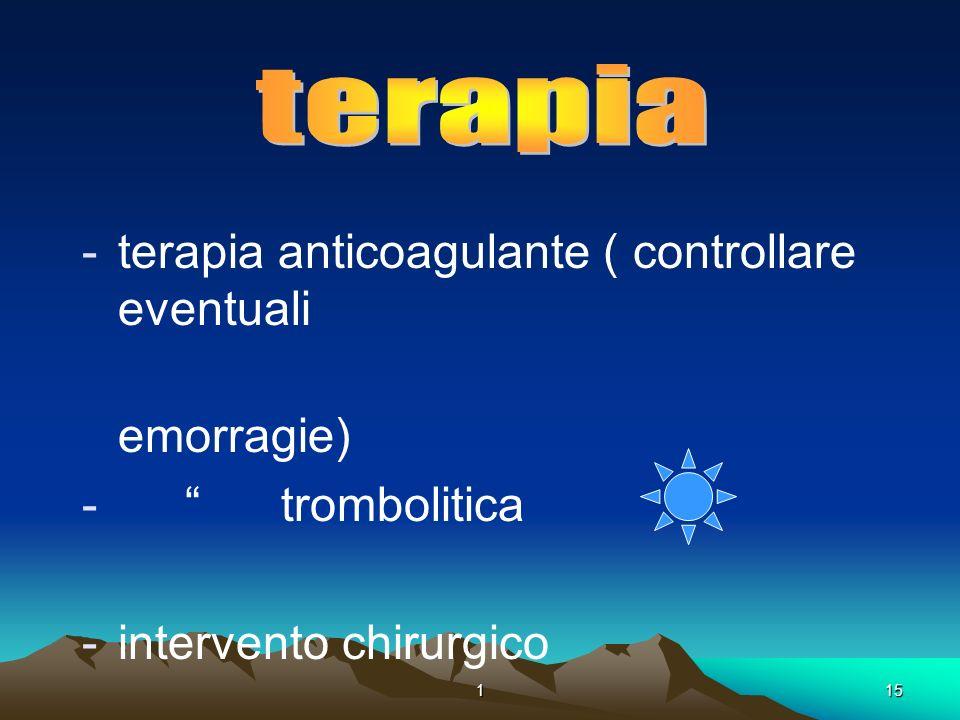 115. -terapia anticoagulante ( controllare eventuali emorragie) - trombolitica -intervento chirurgico