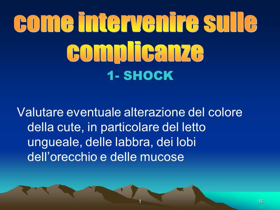 116. 1- SHOCK Valutare eventuale alterazione del colore della cute, in particolare del letto ungueale, delle labbra, dei lobi dellorecchio e delle muc