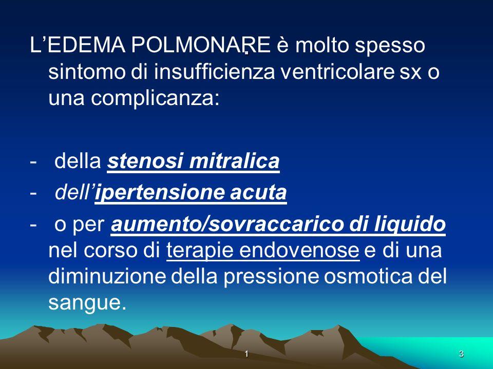 13. LEDEMA POLMONARE è molto spesso sintomo di insufficienza ventricolare sx o una complicanza: - della stenosi mitralica - dellipertensione acuta - o