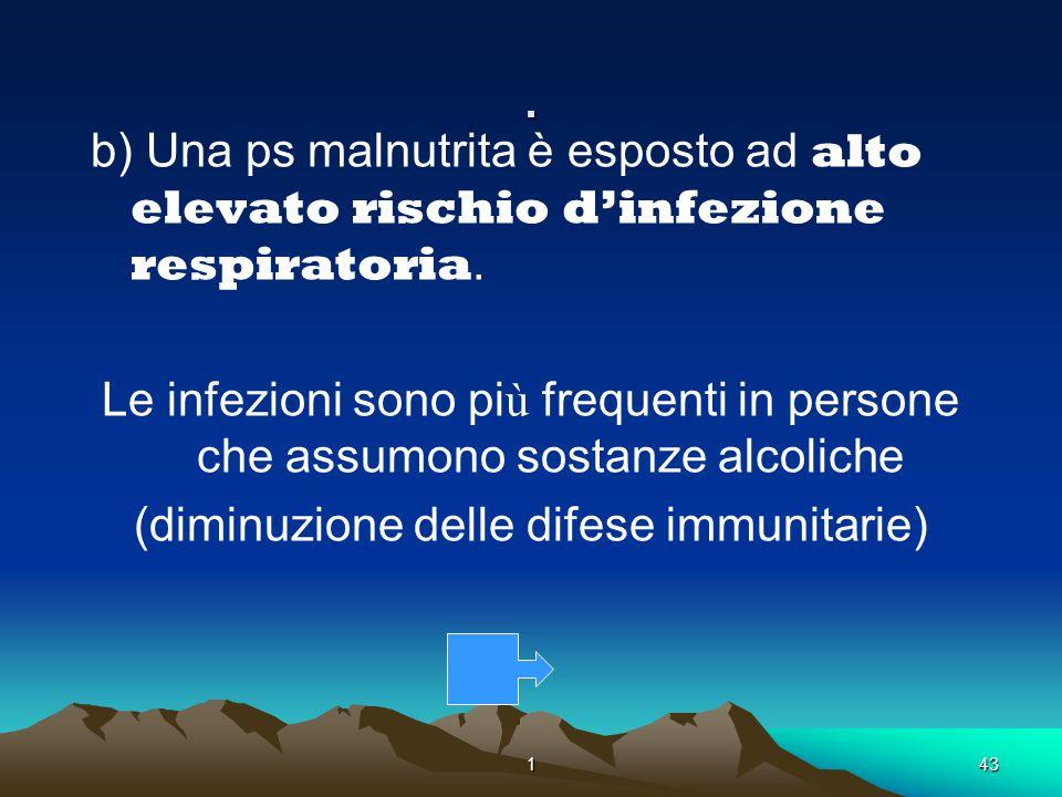 143. b) Una ps malnutrita è esposto ad alto elevato rischio dinfezione respiratoria. Le infezioni sono pi ù frequenti in persone che assumono sostanze