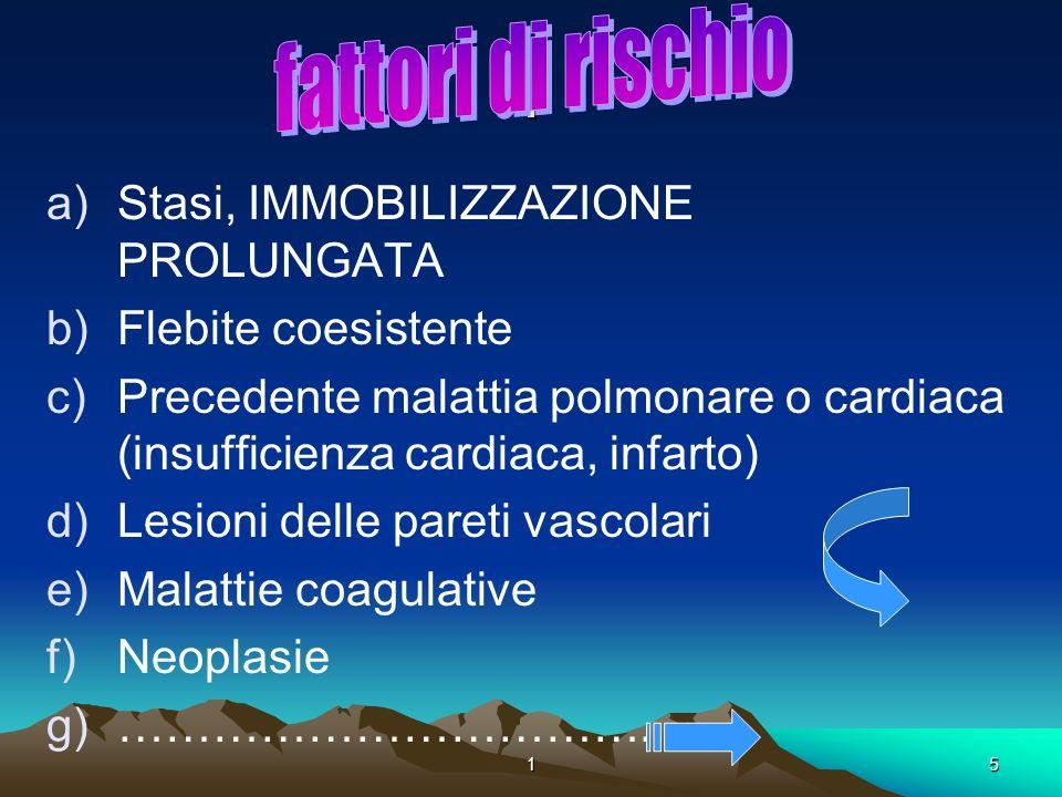 15. a)Stasi, IMMOBILIZZAZIONE PROLUNGATA b)Flebite coesistente c)Precedente malattia polmonare o cardiaca (insufficienza cardiaca, infarto) d)Lesioni