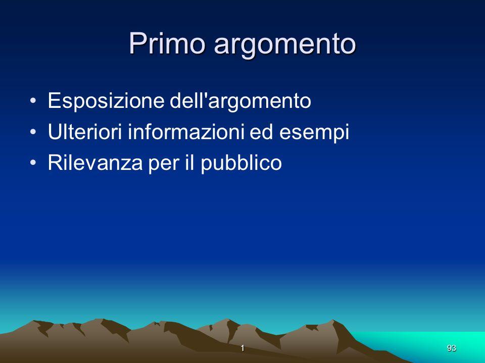 193 Primo argomento Esposizione dell'argomento Ulteriori informazioni ed esempi Rilevanza per il pubblico