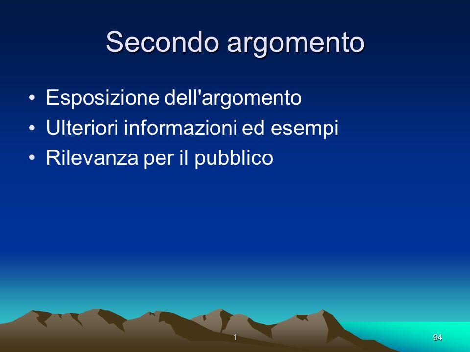 194 Secondo argomento Esposizione dell'argomento Ulteriori informazioni ed esempi Rilevanza per il pubblico