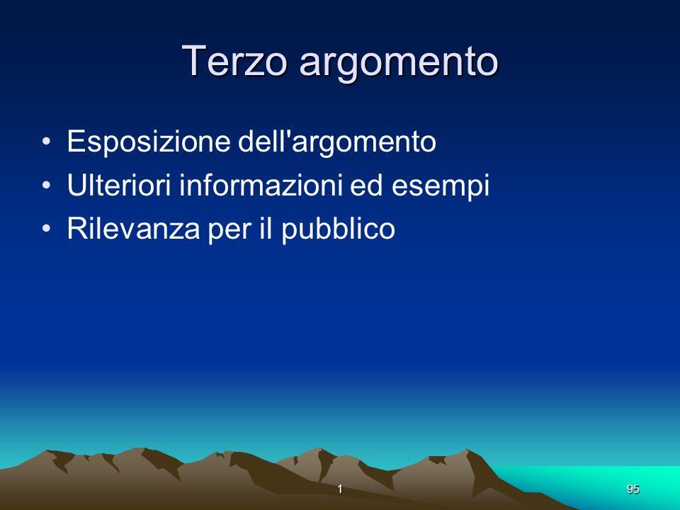 195 Terzo argomento Esposizione dell'argomento Ulteriori informazioni ed esempi Rilevanza per il pubblico