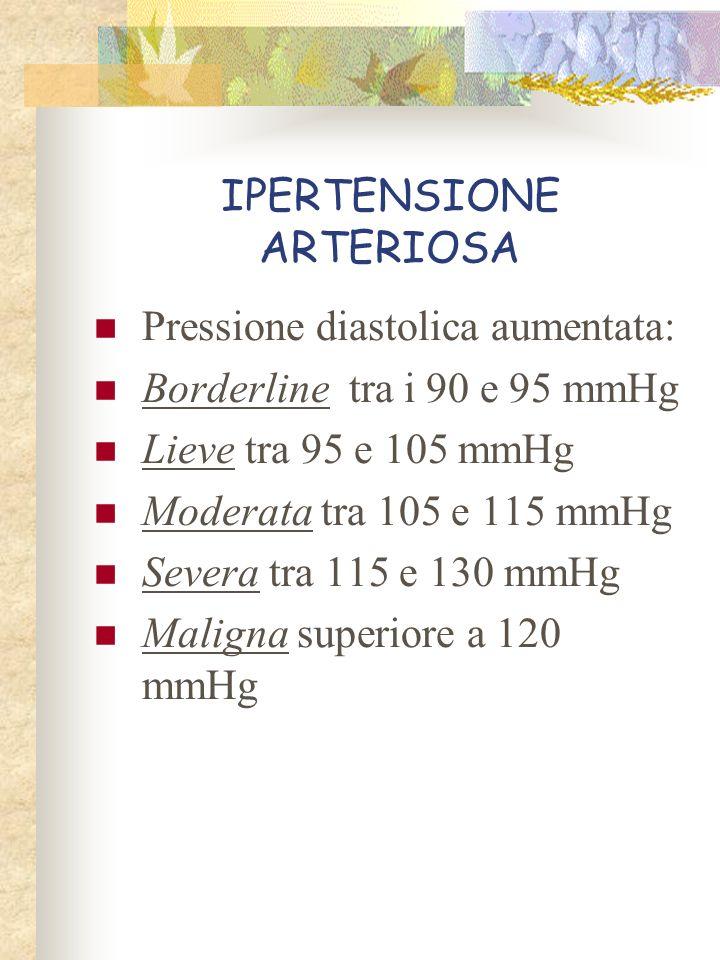 IPERTENSIONE ARTERIOSA Pressione diastolica aumentata: Borderline tra i 90 e 95 mmHg Lieve tra 95 e 105 mmHg Moderata tra 105 e 115 mmHg Severa tra 11