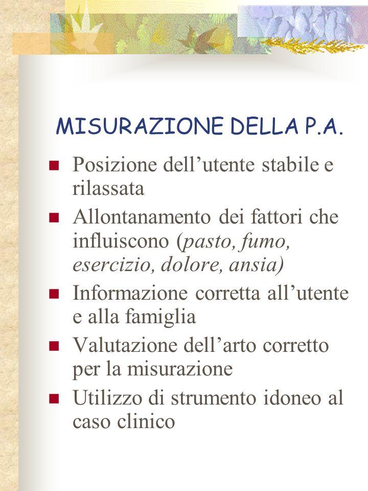 MISURAZIONE DELLA P.A. Posizione dellutente stabile e rilassata Allontanamento dei fattori che influiscono (pasto, fumo, esercizio, dolore, ansia) Inf
