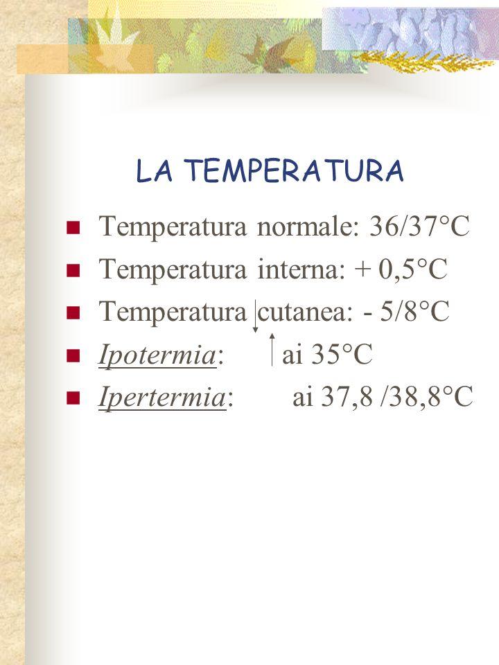 LA TEMPERATURA Temperatura normale: 36/37°C Temperatura interna: + 0,5°C Temperatura cutanea: - 5/8°C Ipotermia: ai 35°C Ipertermia: ai 37,8 /38,8°C