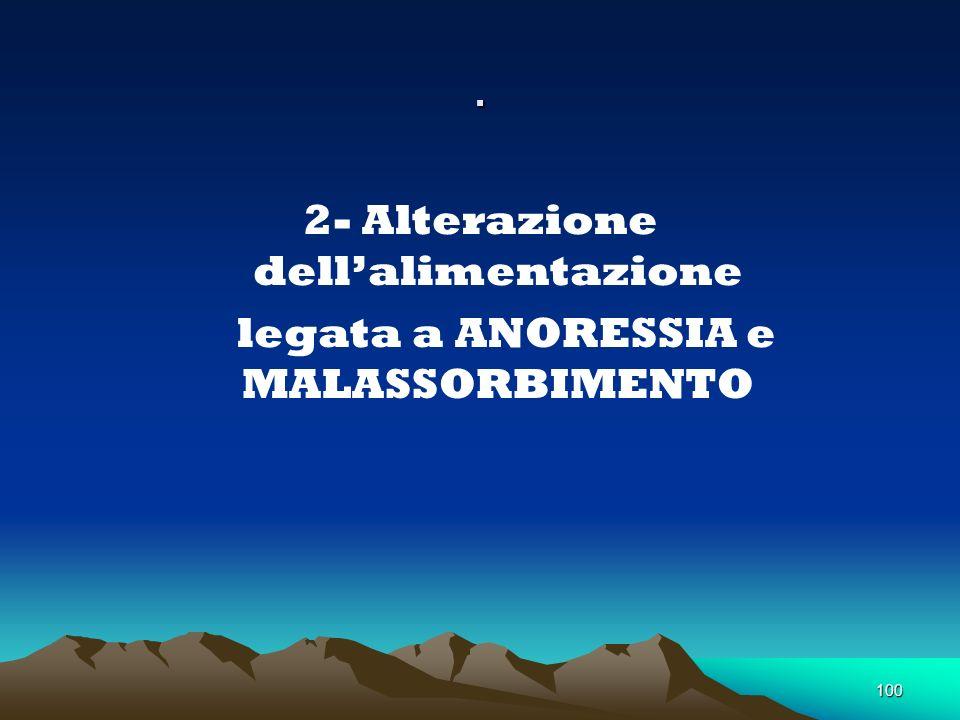 100. 2- Alterazione dellalimentazione legata a ANORESSIA e MALASSORBIMENTO