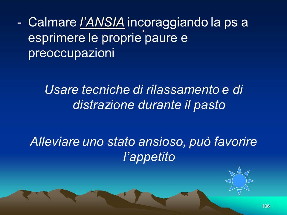 106. lANSIA -Calmare lANSIA incoraggiando la ps a esprimere le proprie paure e preoccupazioni Usare tecniche di rilassamento e di distrazione durante