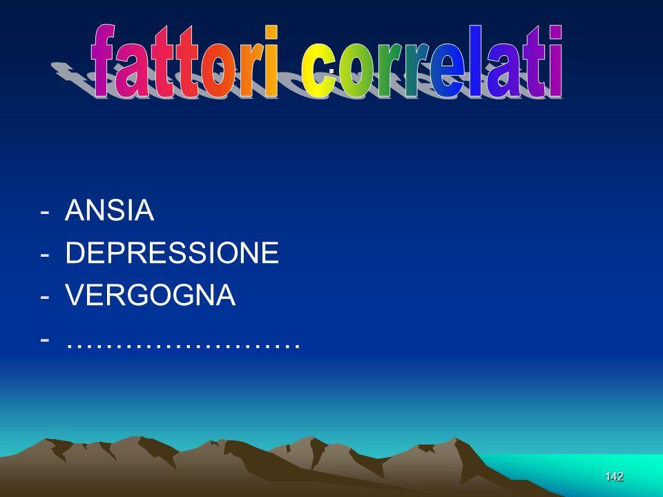 142. -ANSIA -DEPRESSIONE -VERGOGNA -……………………