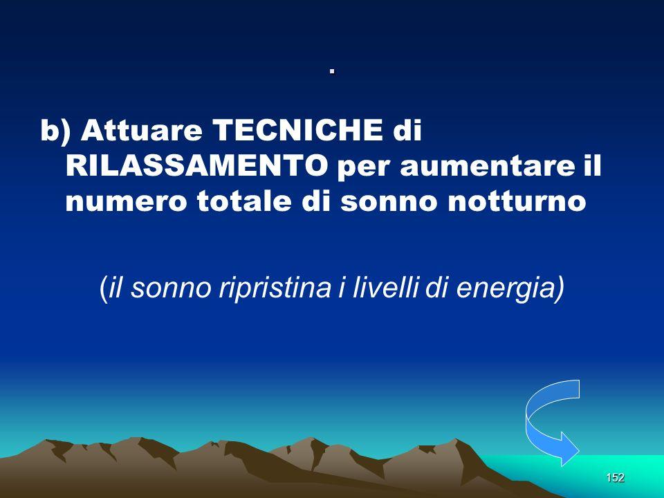 152. b) Attuare TECNICHE di RILASSAMENTO per aumentare il numero totale di sonno notturno (il sonno ripristina i livelli di energia)