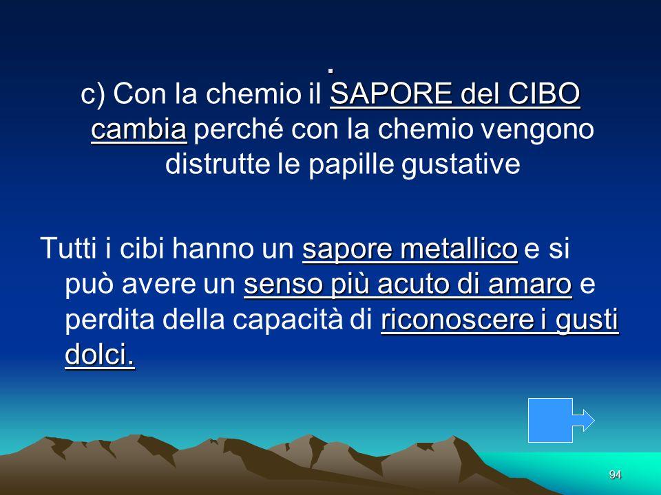 94. SAPORE del CIBO cambia c) Con la chemio il SAPORE del CIBO cambia perché con la chemio vengono distrutte le papille gustative sapore metallico sen