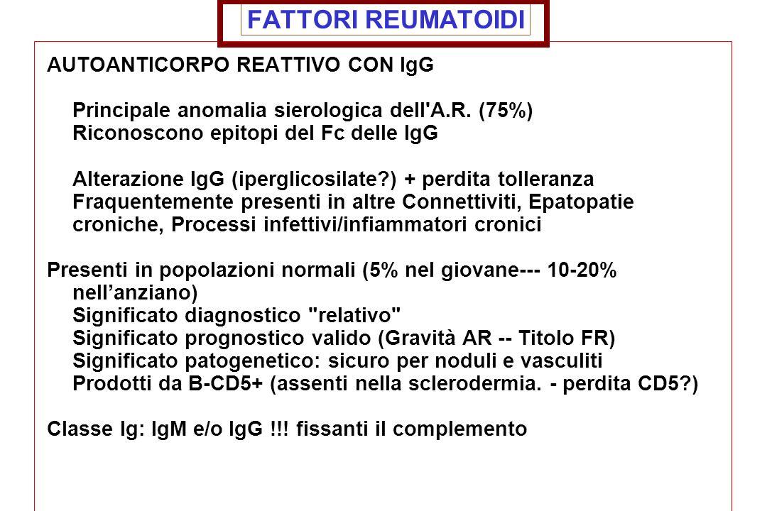 FATTORI REUMATOIDI AUTOANTICORPO REATTIVO CON IgG Principale anomalia sierologica dell'A.R. (75%) Riconoscono epitopi del Fc delle IgG Alterazione IgG