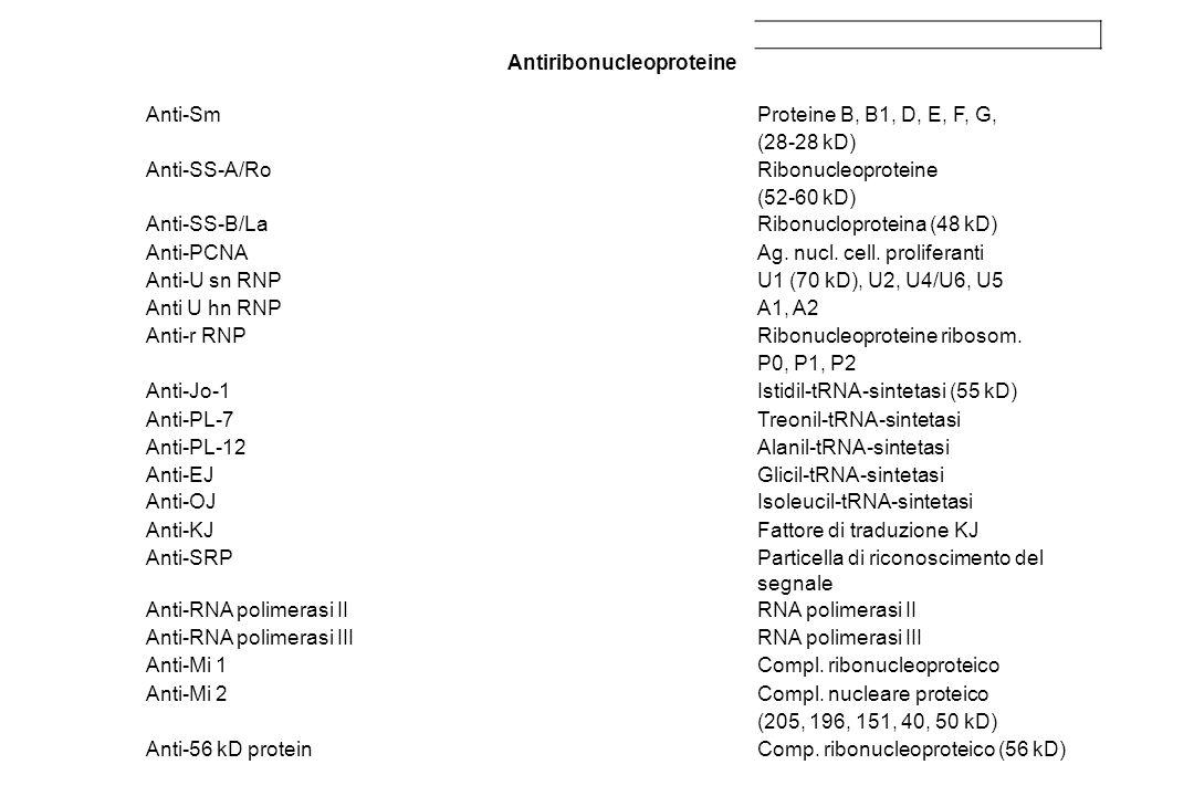 Antiribonucleoproteine Anti-SmProteine B, B1, D, E, F, G, (28-28 kD) Anti-SS-A/RoRibonucleoproteine (52-60 kD) Anti-SS-B/LaRibonucloproteina (48 kD) A