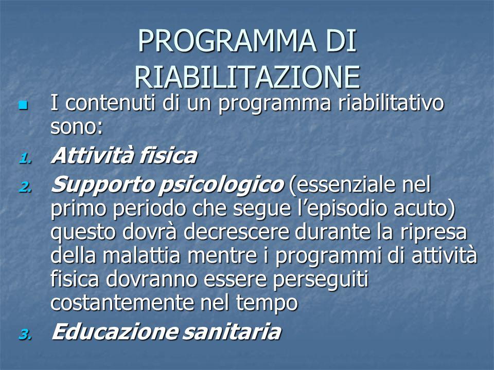 In media questi programmi riabilitativi consistono in 3 sedute la settimana di circa 40 min.