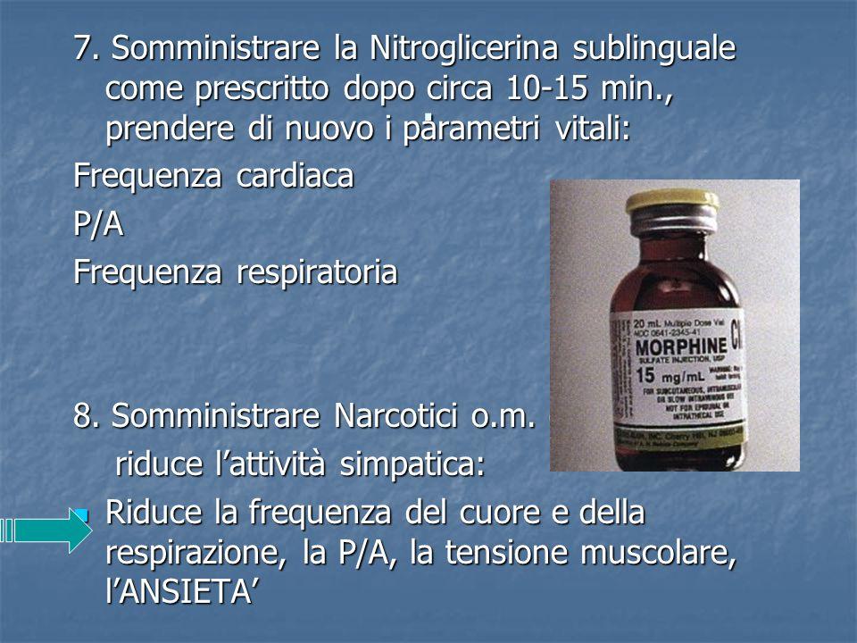 . 7. Somministrare la Nitroglicerina sublinguale come prescritto dopo circa 10-15 min., prendere di nuovo i parametri vitali: Frequenza cardiaca P/A F