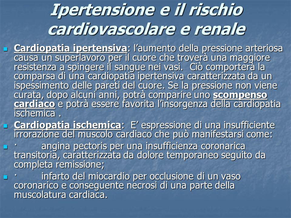 Ipertensione e il rischio cardiovascolare e renale Cardiopatia ipertensiva: laumento della pressione arteriosa causa un superlavoro per il cuore che t