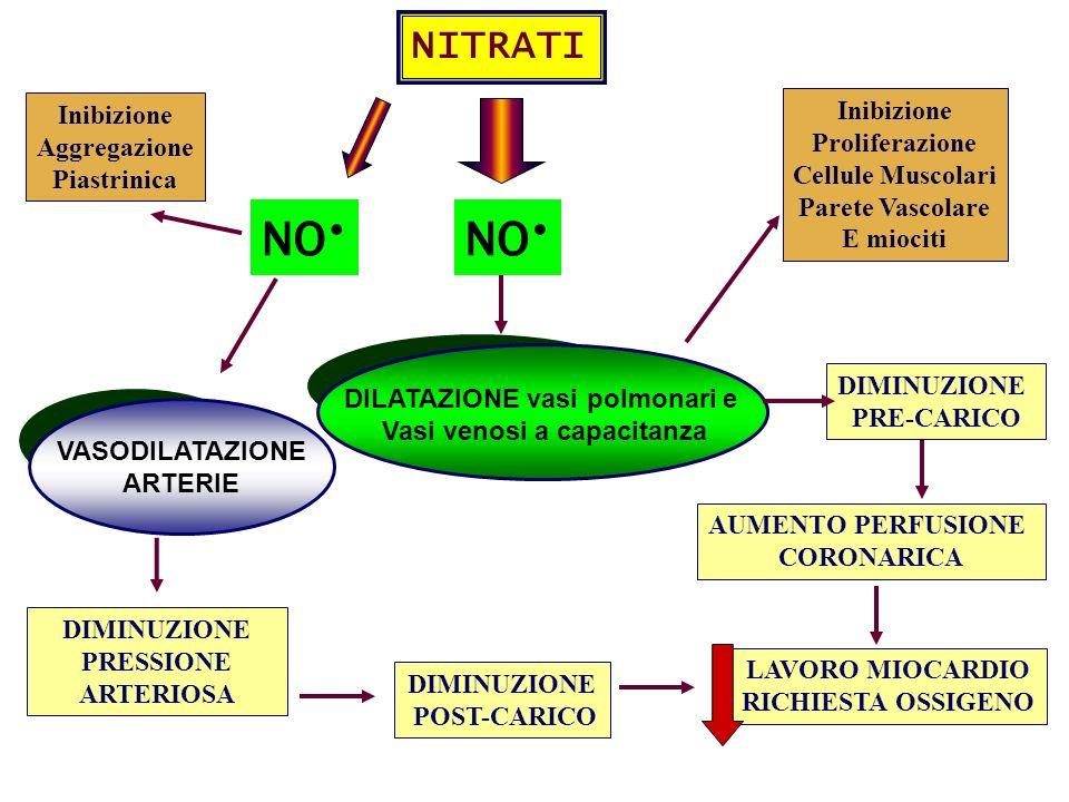 NITRATI DILATAZIONE vasi polmonari e Vasi venosi a capacitanza NO DIMINUZIONE PRE-CARICO DIMINUZIONE POST-CARICO LAVORO MIOCARDIO RICHIESTA OSSIGENO I