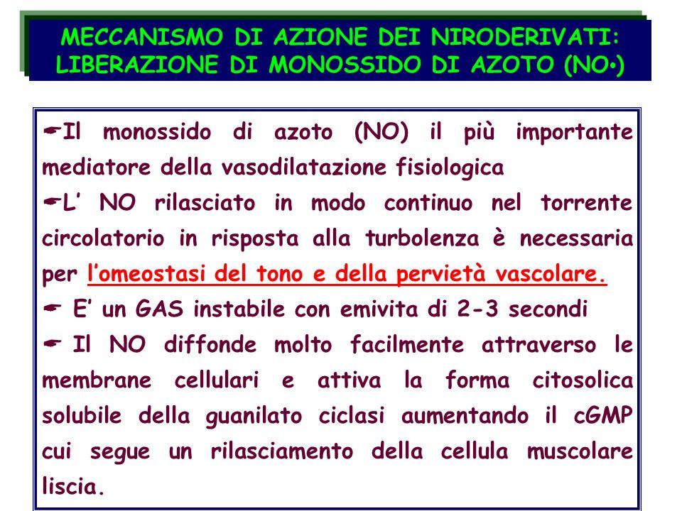 CELLULA MUSCOLARE LISCIA NO cGMP PKGMyosina-P Ca 2+ cGMP fosfodiesterasi Guanilato ciclasi vasorilasciamento MECCANISMO DI AZIONE DEI NIRODERIVATI: LIBERAZIONE DI MONOSSIDO DI AZOTO (NO) I nitrovasodilatatori mimano gli effetti del NO endogeno prodotto dalle cellule endoteliali CELLULA ENDOTELIALE VASCOLARE