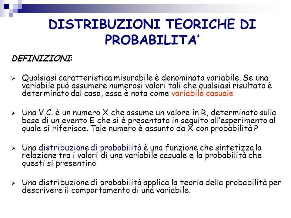 DEFINIZIONI: Qualsiasi caratteristica misurabile è denominata variabile. Se una variabile può assumere numerosi valori tali che qualsiasi risultato è
