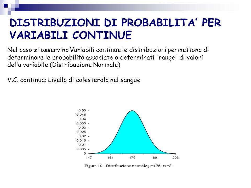 Nel caso si osservino Variabili continue le distribuzioni permettono di determinare le probabilità associate a determinati range di valori della varia