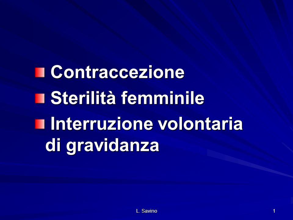L. Savino 1 Contraccezione Contraccezione Sterilità femminile Sterilità femminile Interruzione volontaria di gravidanza Interruzione volontaria di gra