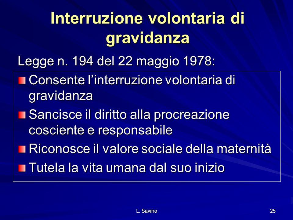 L.Savino 25 Interruzione volontaria di gravidanza Legge n.