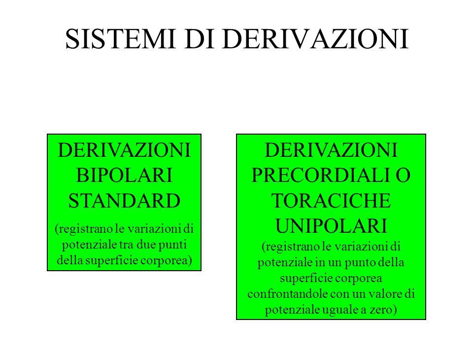 SISTEMI DI DERIVAZIONI DERIVAZIONI BIPOLARI STANDARD (registrano le variazioni di potenziale tra due punti della superficie corporea) DERIVAZIONI PREC