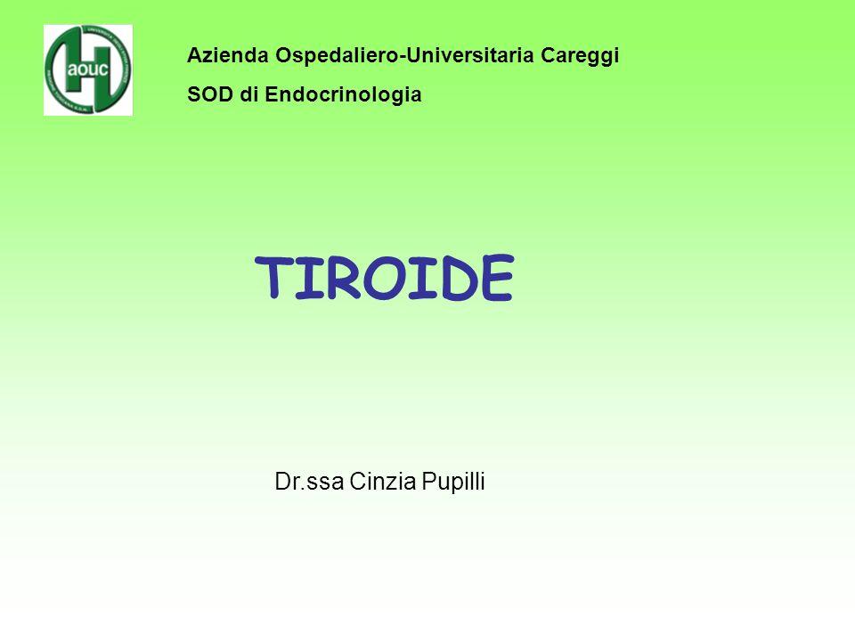 CAUSE DI IPOTIRODISMO IPOTIROIDISMO PRIMITIVO Perdita di tessuto tiroideo funzionante Tiroidite cronica linfocitaria (autoimmune) Forme iatrogene (terapia radiometabolica, terapia radiante, chirurgia, farmaci) Tiroidite subacuta, silente, post-partum (fase transitoria) Agenesia/disgenesia tiroidea Malattie infiltrative (amiloidosi, sarcoidosi, emocromatosi) Difetti della biosintesi di ormoni tiroidei Difetti congeniti (irresponsività TSH, difetti: trasporto I, organificazione, desiodasi, tireoglobulina, S.