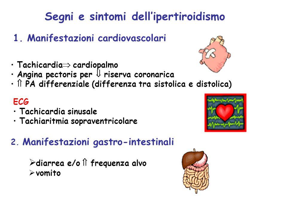 1. Manifestazioni cardiovascolari Tachicardia cardiopalmo Angina pectoris per riserva coronarica PA differenziale (differenza tra sistolica e distolic