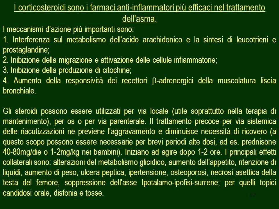17 I corticosteroidi sono i farmaci anti-inflammatori più efficaci nel trattamento dell'asma. I meccanismi d'azione più importanti sono: 1. Interferen